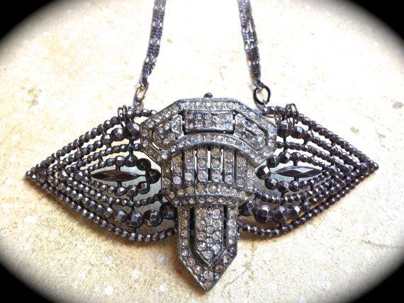 Rhinestone Brooch Necklace- Statement Necklace- #Handmade Art Deco Necklace- Steel Cut Buckle- #Vintage Necklace- Rhinestone Necklace  This is a statement necklace made up of... #etsy #handmade #necklaces #bridal #vintage #silver