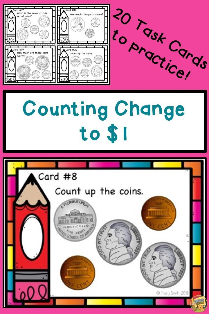 Counting coins to 1 counting change task cards center