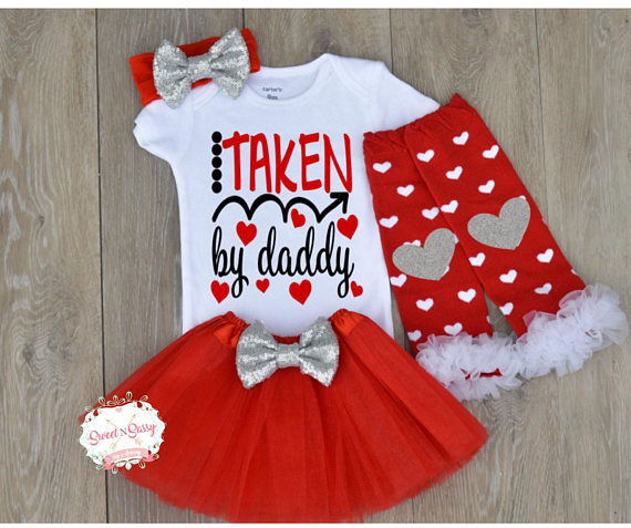 30c59192b Baby Valentines Outfit, Valentine's Day Outfit, Daddy baby shirt, Girl  Valentines Day Outfit, Baby G