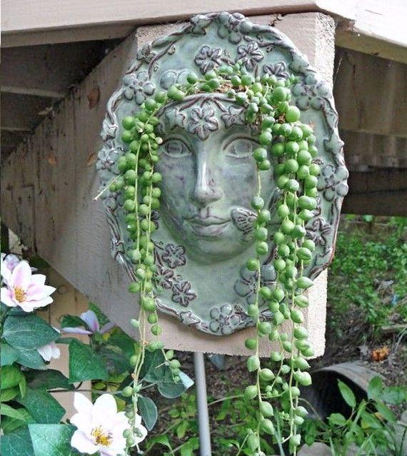 Goddess Ceramic Celestial Face Planter For The By