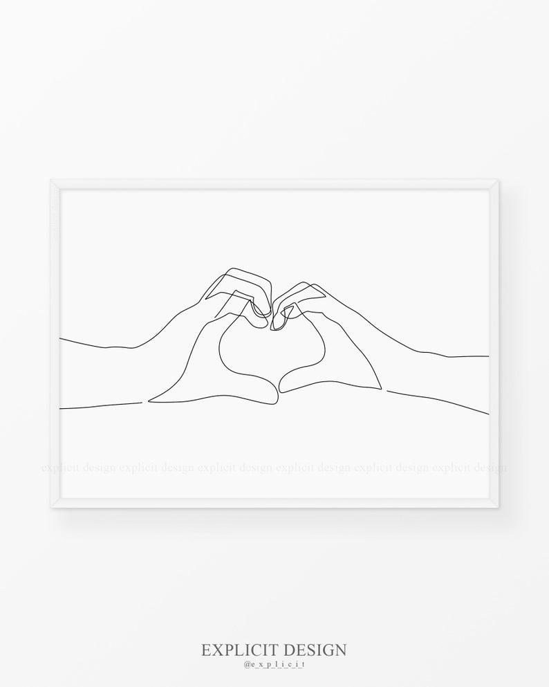 Hand Heart Printable One Line Drawing Print Love Hands Etsy Line Art Drawings Gesture Drawing Drawings