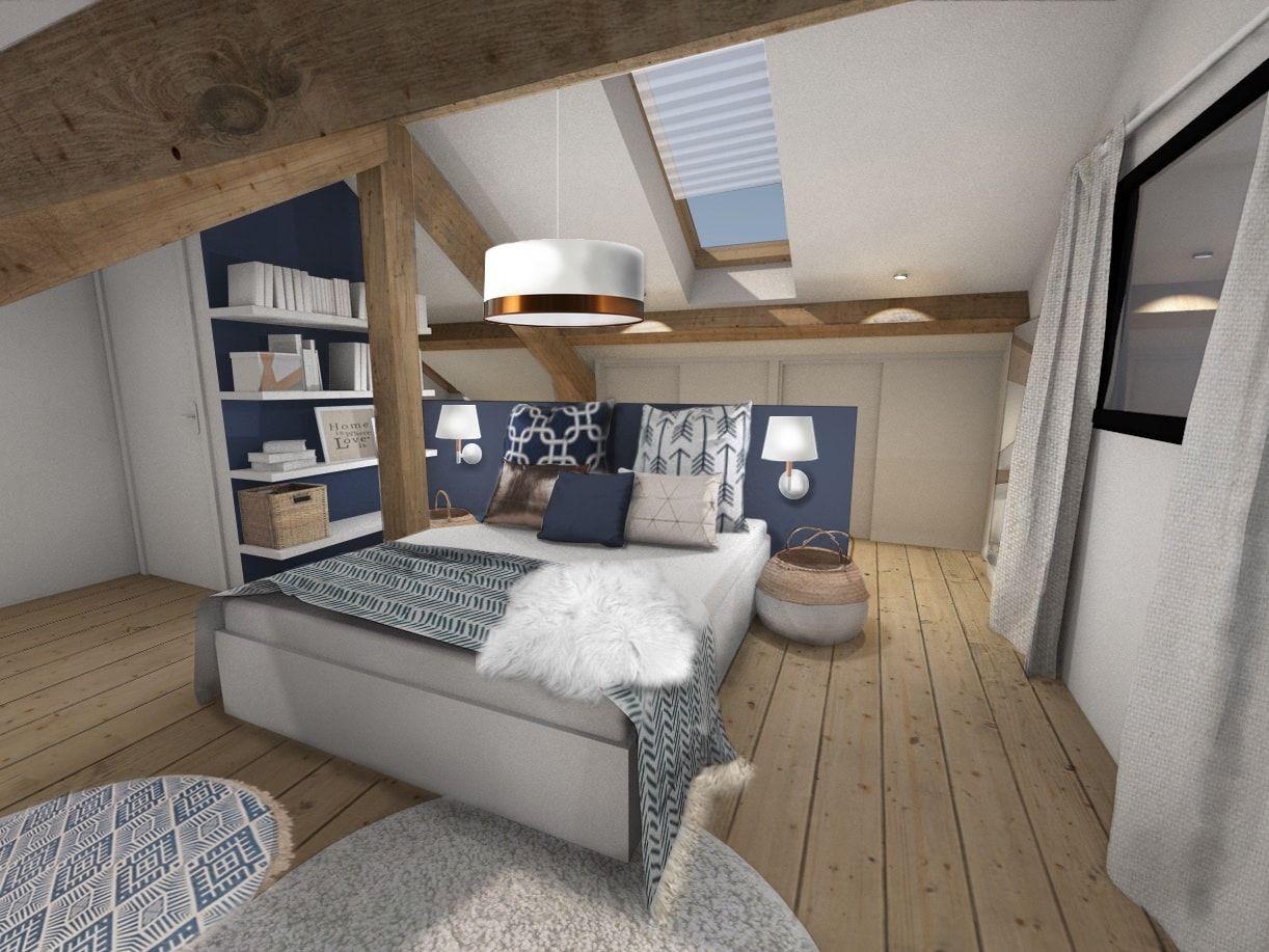une chambre parentale sous les combles look scandinave mix lethnique et ponctu de bleu - Espace Bureau Dans Chambre Parentale