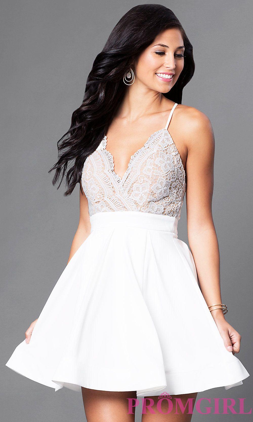 1d3bb542708 Short Lace-Bodice V-Neck Homecoming Dress