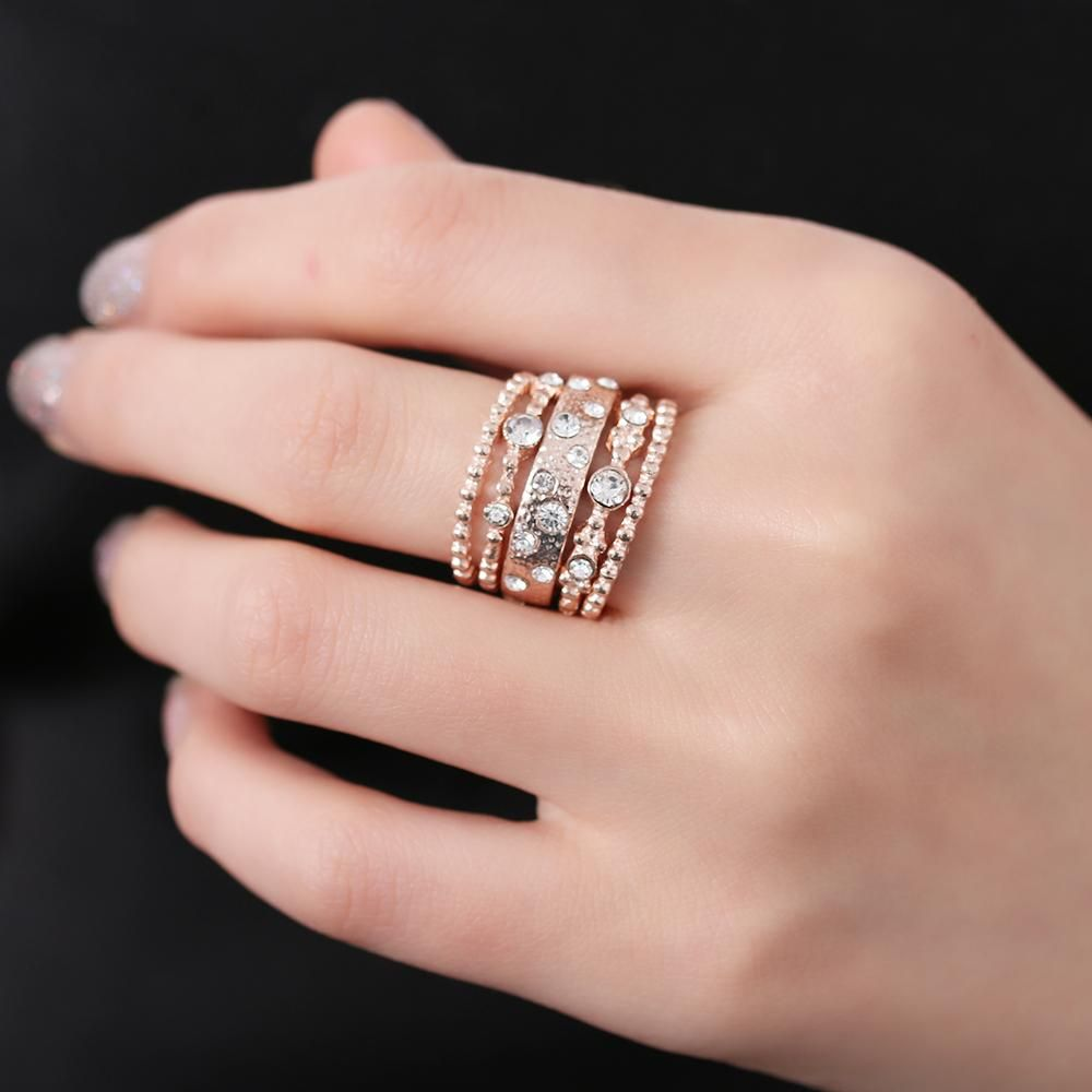 d049be4b1f 5Pcs/set Rose Gold Crystal Rhinestone Stackable Rings | Fashion ...