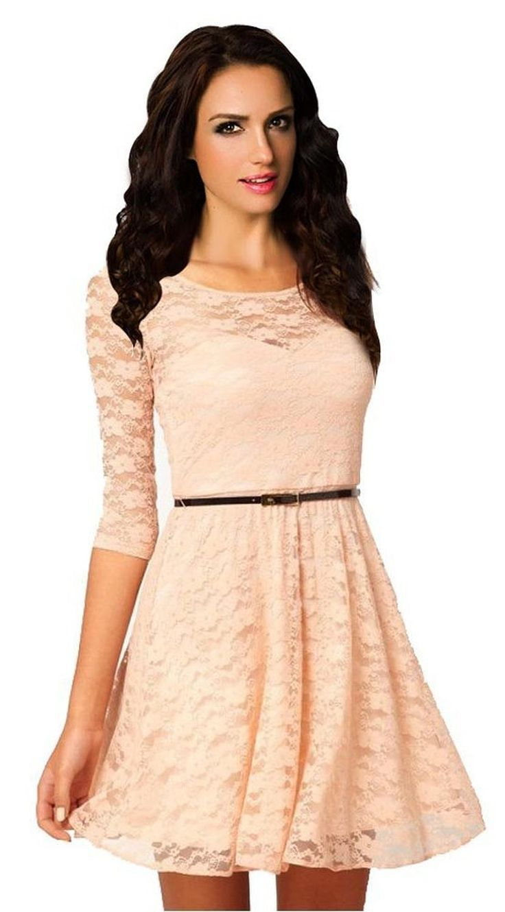 Daditong Women's Spoon Neck 3/4 Sleeve Lace Skater Dress Belt