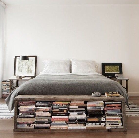 Book storage at the foot of the bed   First apartment ...