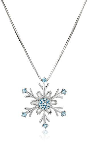 "Sterling Silver Blue and White Swarovski Elements Snowflake Pendant Necklace, 18"" Amazon Collection-$39.71 http://www.amazon.com"