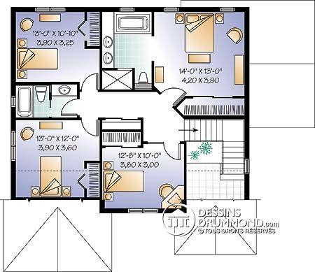 Détail du plan de Maison unifamiliale W3868 Prefab House - plan de maison design