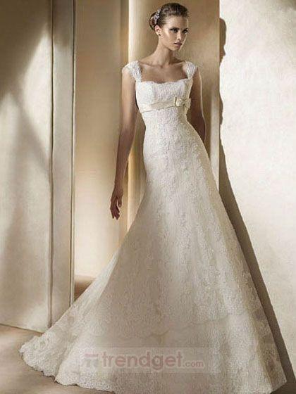 2013 Modest Princess Lace White Wedding Dress Straps Floor-length - $176.99 - Trendget.com