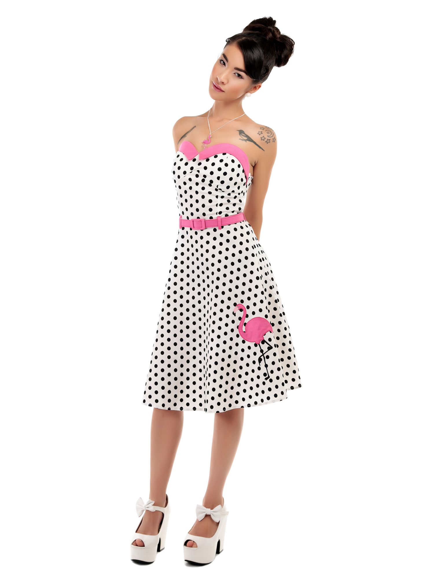 a0a5ab6fbbe Collectif Monica Polka Dot Flamingo Dress