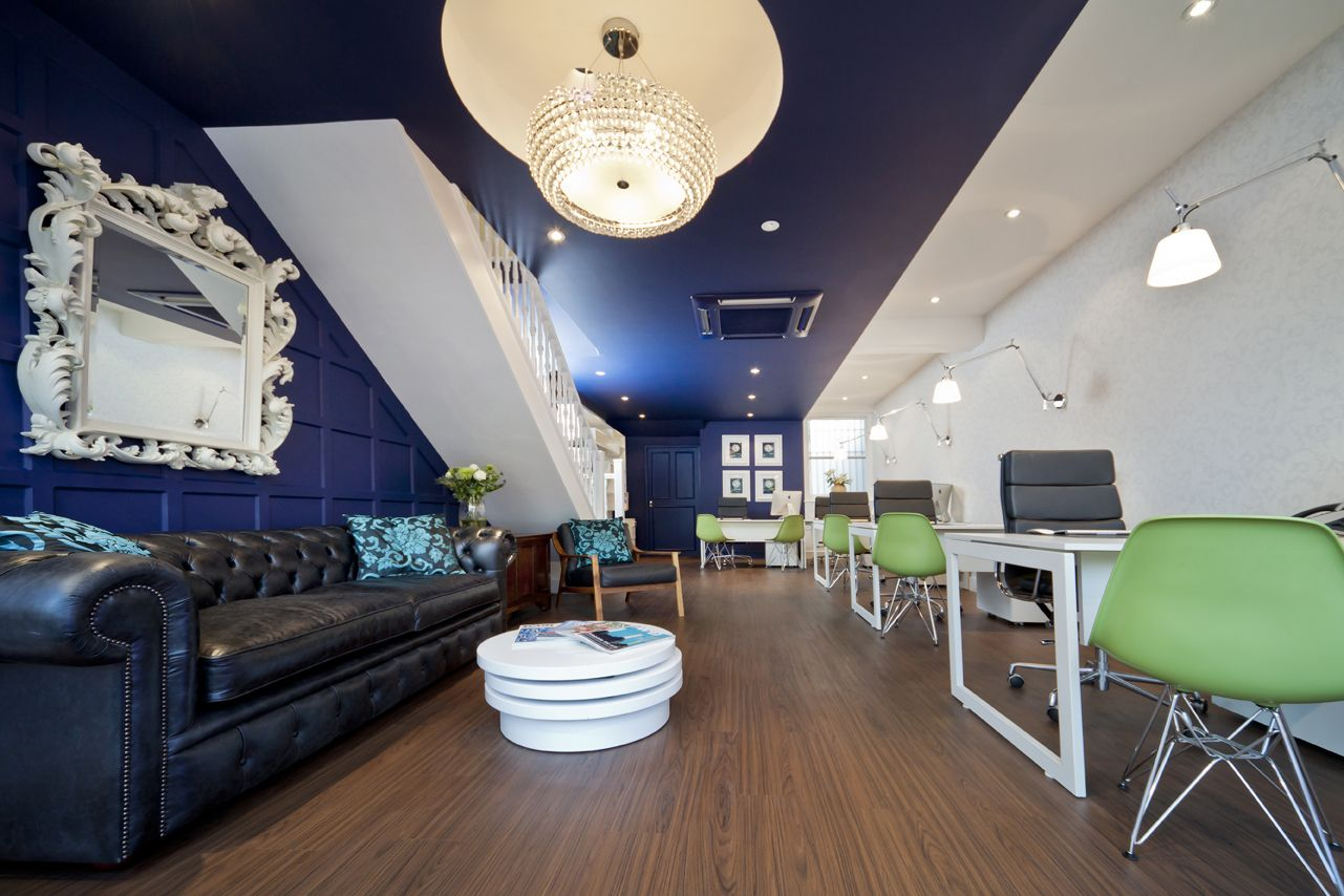 Bold choice of colour statement lighting and stunning for Estate agency interior design