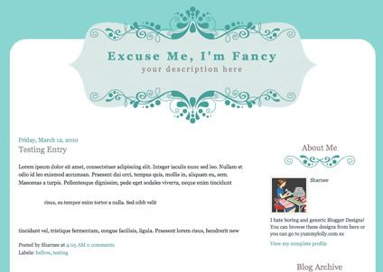 Blogger Candy - Free Blogger + Blogspot templates: Excuse Me, I'm Fancy - Blogger Template
