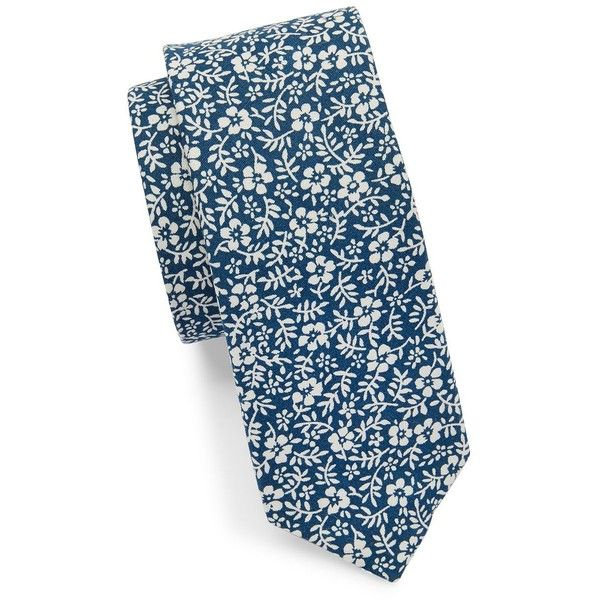 Original Penguin Floral Tie (970 RUB) ❤ liked on Polyvore featuring men's fashion, men's accessories, men's neckwear, ties and blue