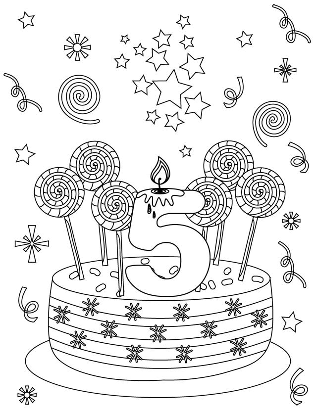 carte d anniversaire 5 ans coloriage