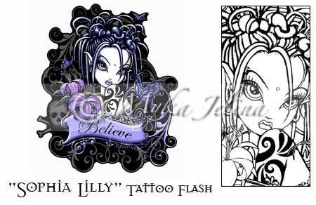 faires sophia goth gothic fairy fantasy tattoo flash print 73b2e1a9809ab058ff703041b8e76739