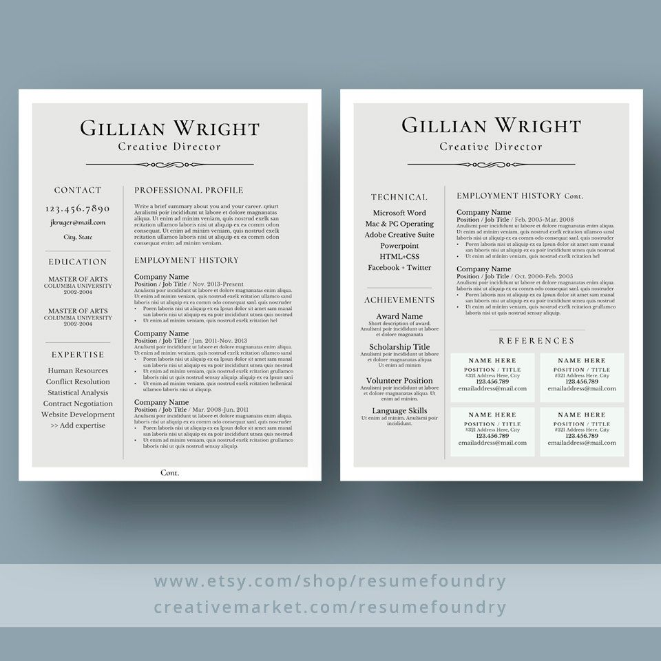 Elegant Resume Template Cv Template Cover By Resumefoundry Resume Template Good Resume Examples Resume Examples