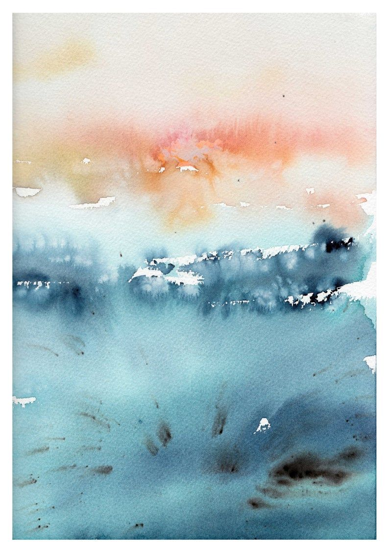 Watercolor Print In Blue And Teal Abstract Landscape Print