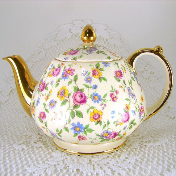 Sadler England Wildflowers Chintz Teapot Tea Pot 2642 Gold Gilt Footed Floral