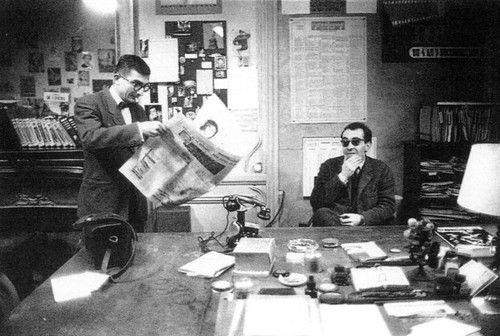 Claude Chabrol et Jean-Luc Godard à la rédaction des Cahiers du Cinéma