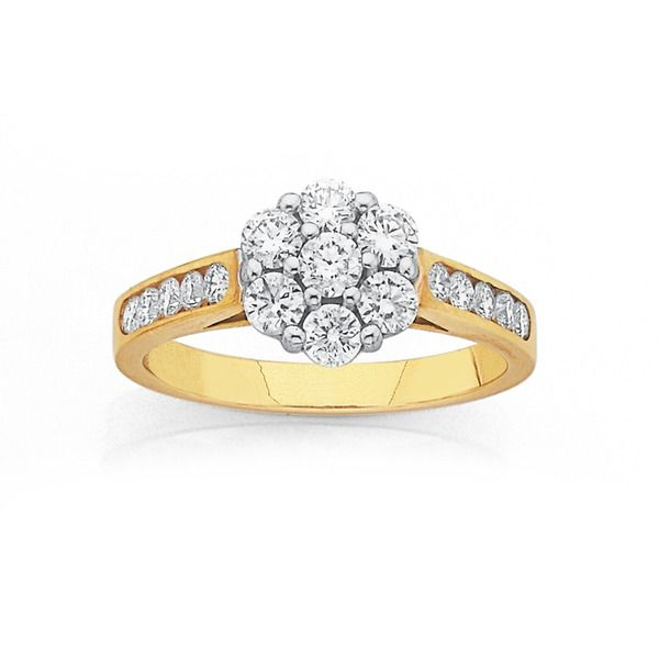 9ct Gold Diamond Cluster Engagement Ring