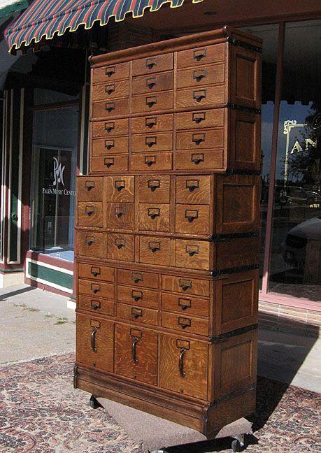 Quartersawn Oak Globe 42 Drawer Stacking File Cabinet Sold ...