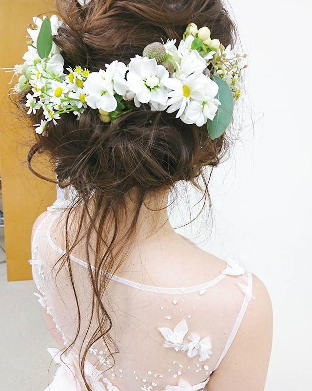 ブライダル Love かわいい きれい 生花 生花髪飾り 波ウェーブ Wedding Bridalhair ヘアアレンジ ウェディング