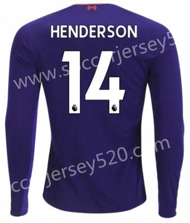 0bbdf5005b9 2018-19 Liverpool Away Purple  14 (HENDERSON) Thailand LS Soccer Jersey AAA