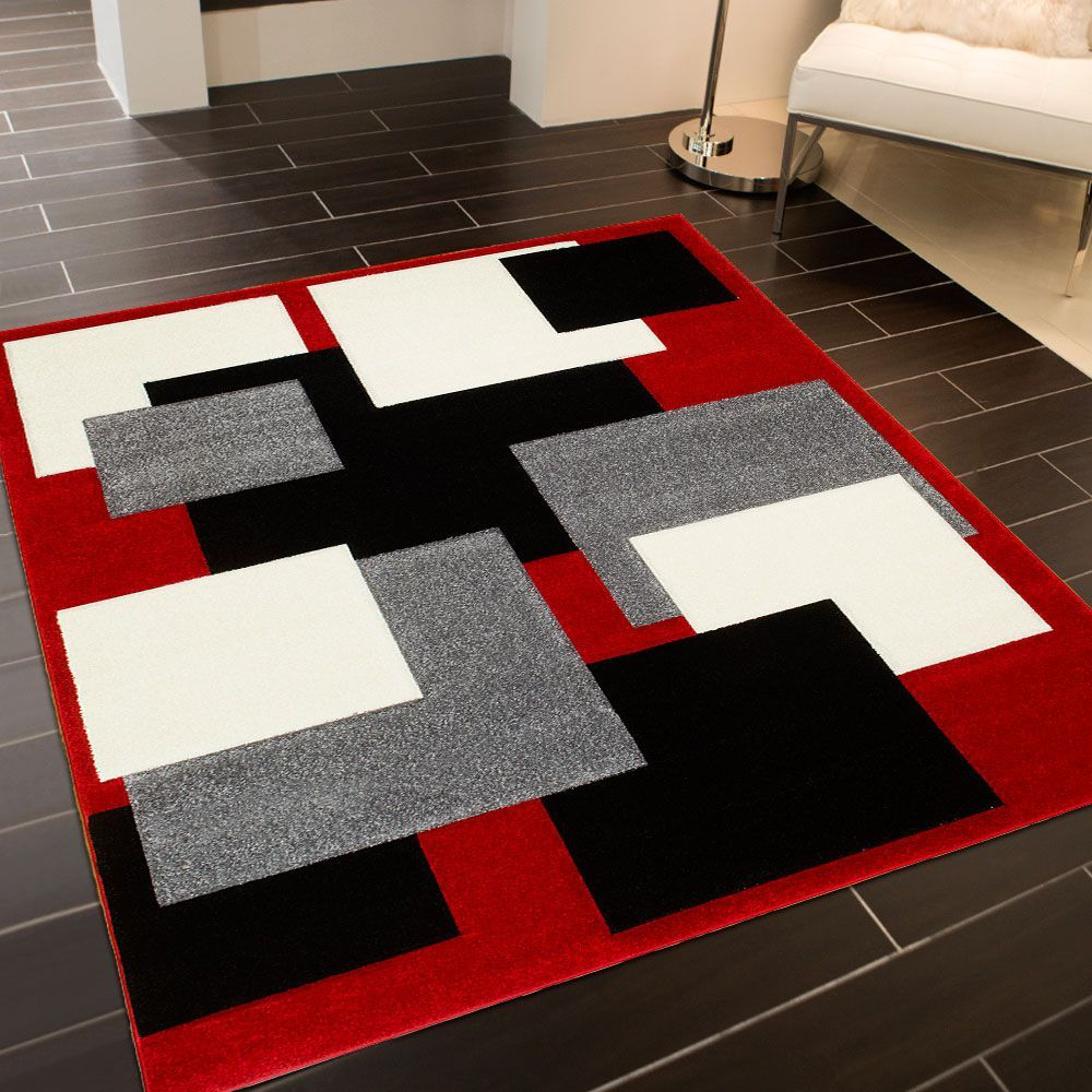 Allstar Red Modern Geometric Grey And Black Square Design Area Rug