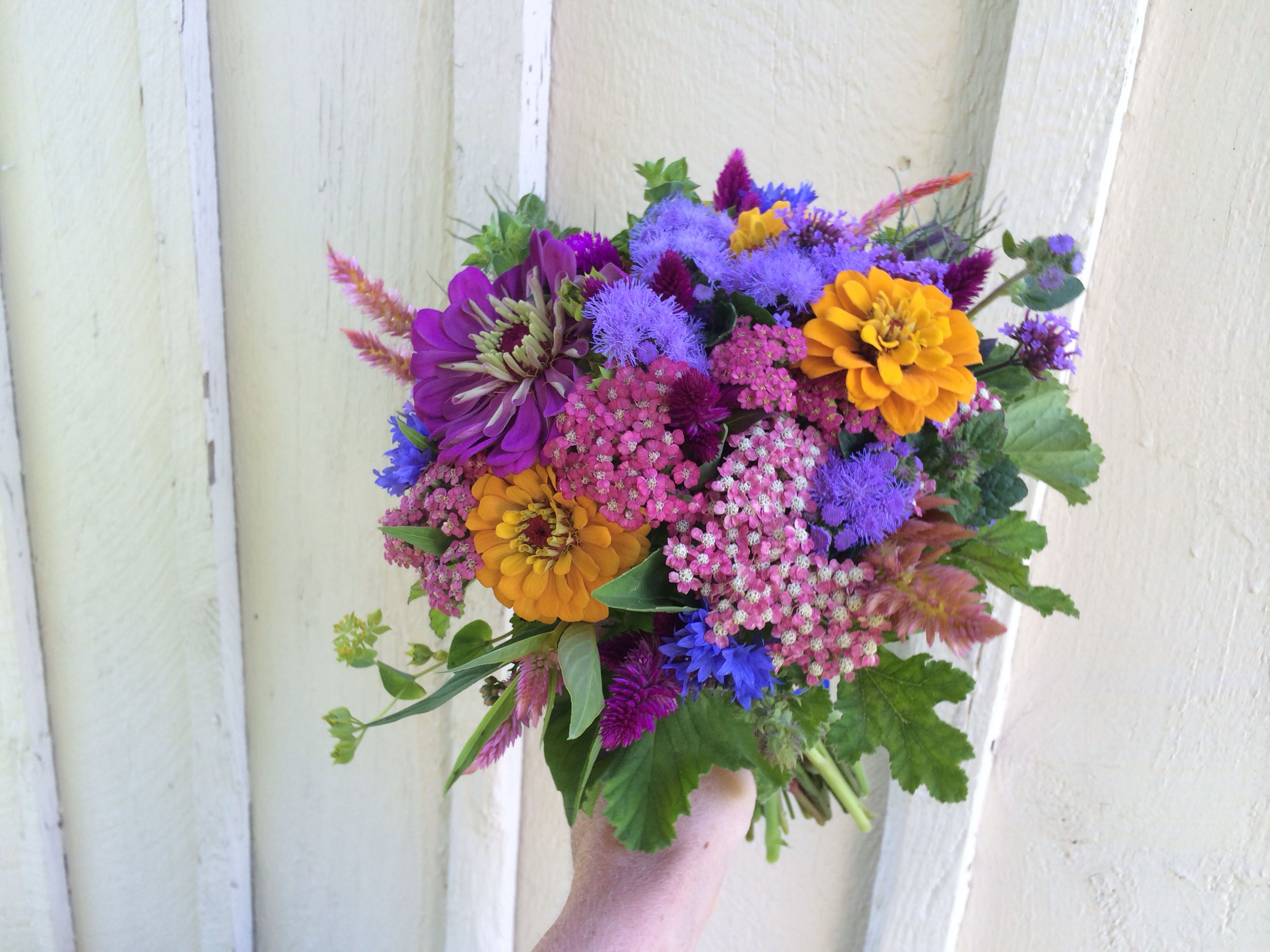 August Wedding Bridesmaid Bouquet Zinnia Strawflower Yarrow And More Aster B Flowers Flower Farm August Flowers Flower Farm Wedding Bridesmaid Bouquets