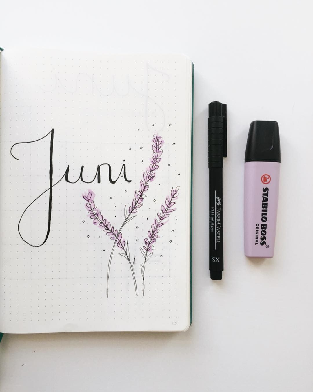 Bullet Journal Monthly Cover Page June Cover Page Hand Lettering