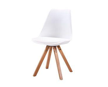 Eetkamerstoel wit stilo met zitvulling kuipstoel