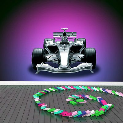 Formula race car wall mural purple photo wallpaper boys bedroom home decor wallpaper murals wallpaper accessories