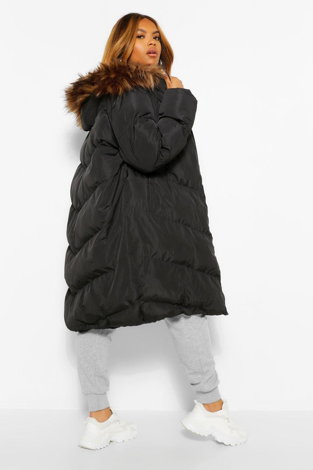 Plus Maxi Padded Puffer Coat With Faux Fur Hood Boohoo Puffer Coat Style Fur Puffer Coat Faux Fur Hood [ 1500 x 1000 Pixel ]