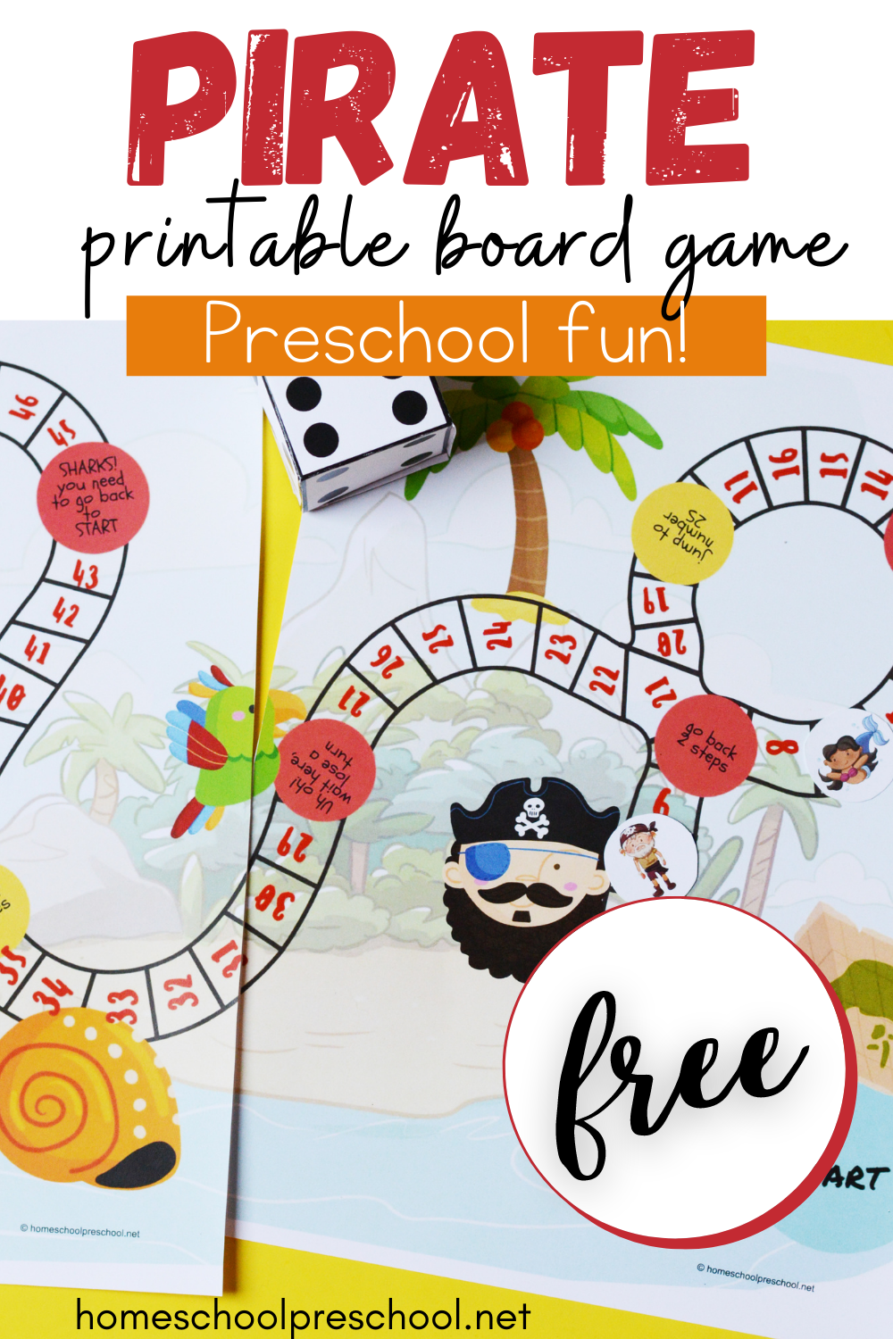 Free Pirate Board Game Printable For Preschoolers Pirate Activities Preschool Free Preschool Printables Pirate Preschool [ 1500 x 1000 Pixel ]