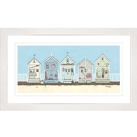 buy sally swannell row of beach huts framed print 47 x 78cm online at