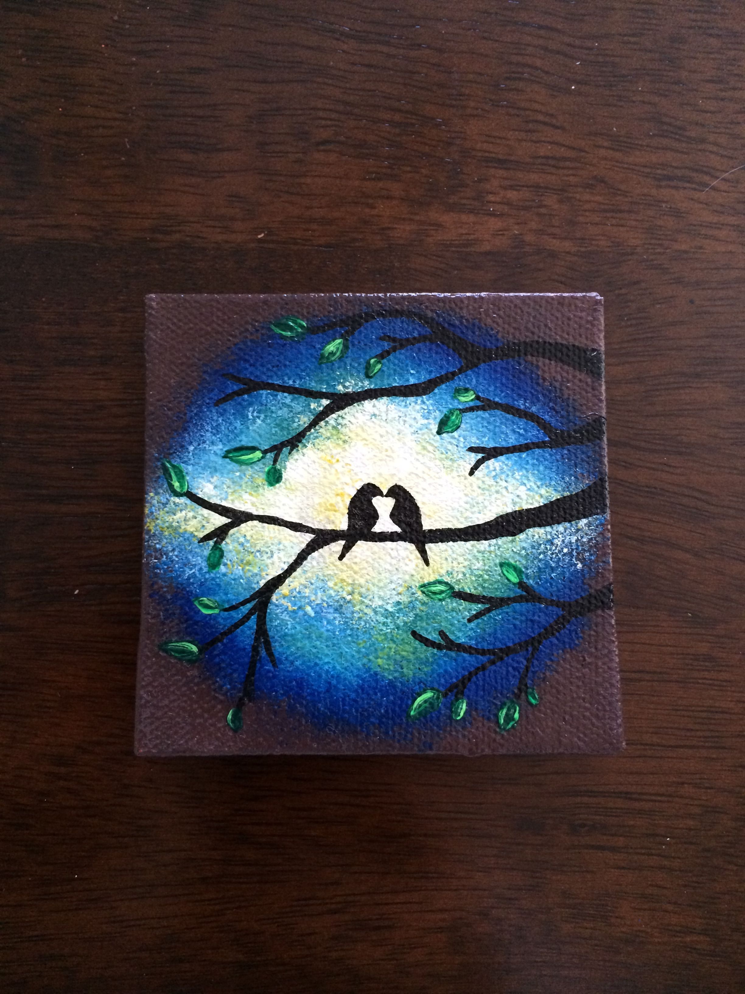 Love birds in tree in blue night sky on mini canvas hand painted with magne