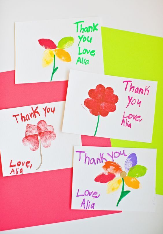 Kid Made Stamped Flower Thank You Cards Thank You Cards From Kids Teacher Birthday Card Diy Teacher Christmas Gifts