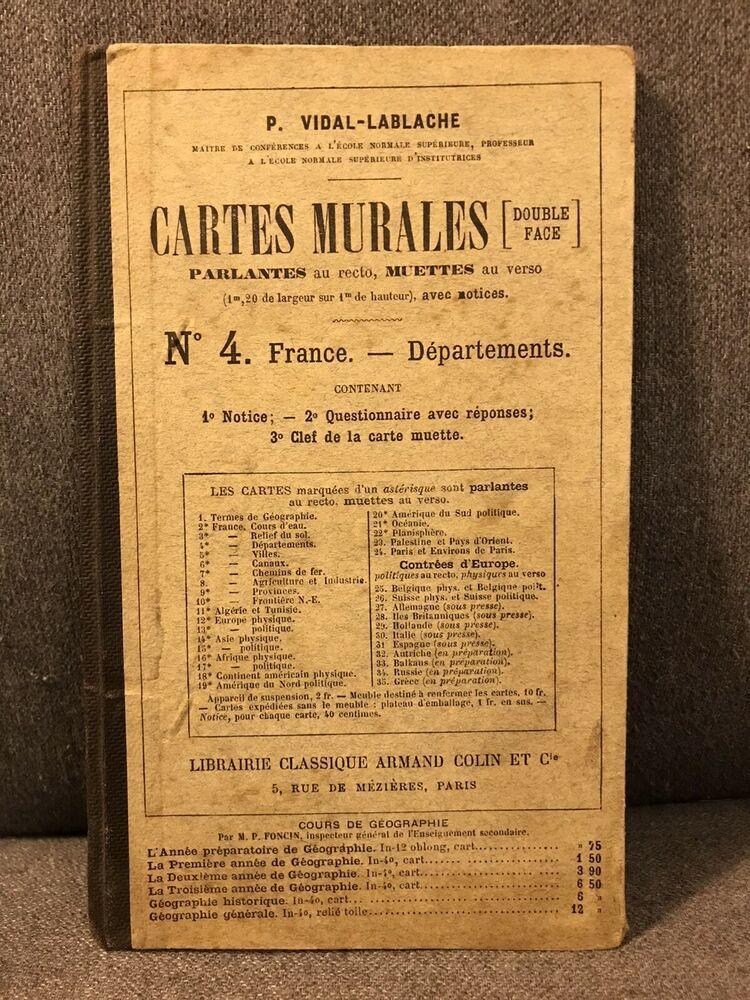 Notice De Carte Scolaire Vidal Lablache N 4 France Departements In 2020 France Vidal Book Cover