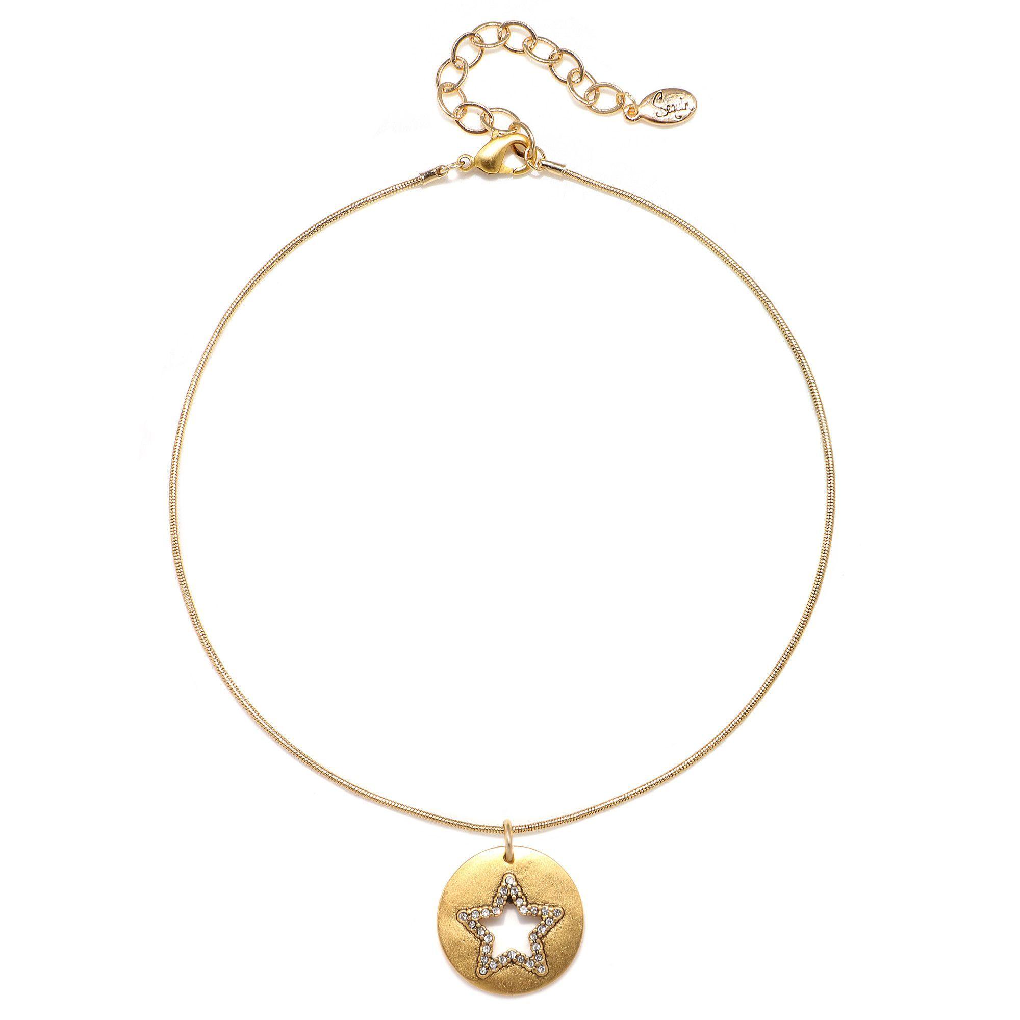 Cutout Pave Star Talisman Choker Necklace - Snake Chain