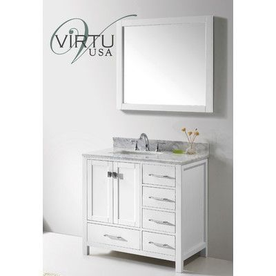 "Virtu Caroline Avenue 37"" Single Bathroom Vanity Set with Mirror Base Finish:"