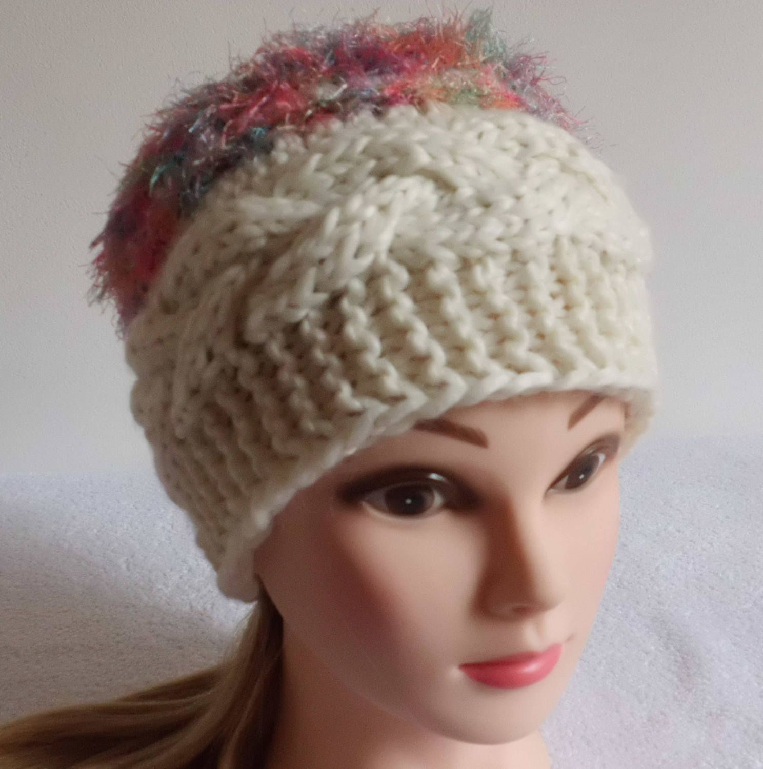 60f30f498 Chunky Off White Cable Knit Hat, Boho Women Hat, Fashionable French ...