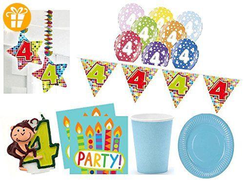 Xxl Party Deko Set 4 Geburtstag 54 Teilig Kindergeburtstag Fur 12