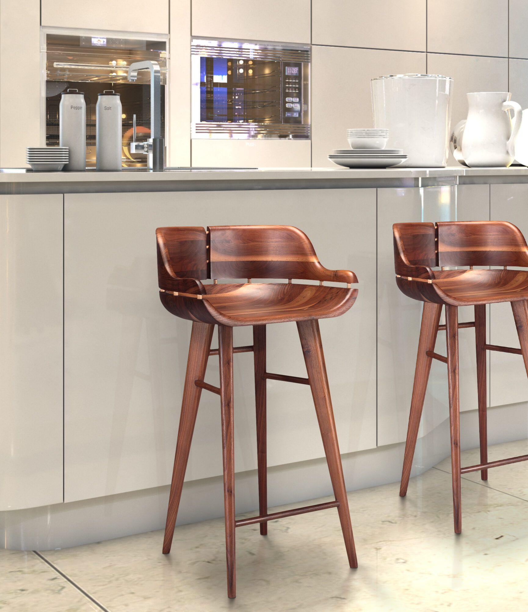 Kurf Walnut Stool Organic Modernism New York Walnut Stools Wood Bar Stools Bar Stools With Backs