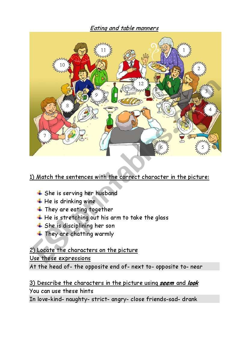 Table Manners Worksheet Table Manners
