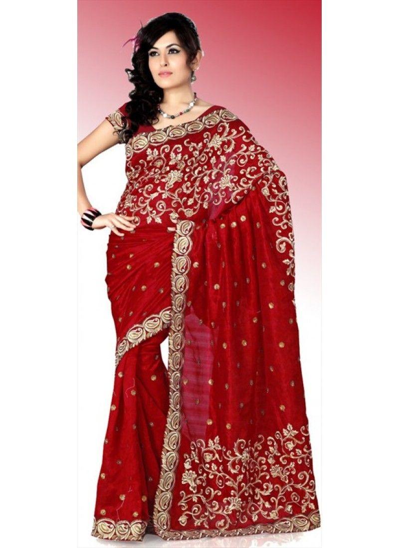 dernière vente artisanat exquis meilleurs tissus Magnifique Sari Rouge en Soie brodé et travaillé au Resham ...