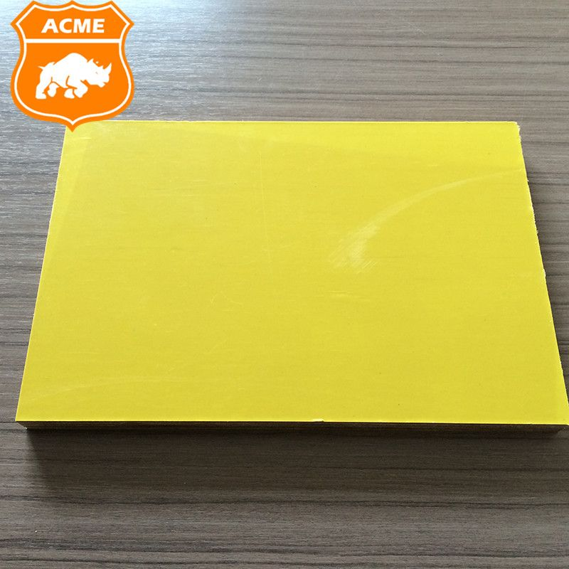 Yellow Plastic Coated Film Faced Plywood Sheet For