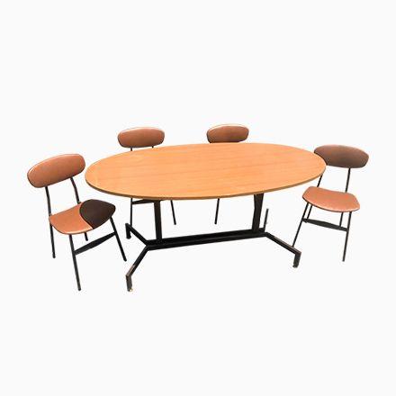 Dänischer Mid-Century Modern Teak Tisch \ 4 Stühle, 1950er, 5er - küchentisch mit stühlen