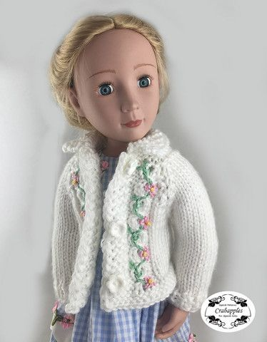 Eyelet Cable Cardigan Knitting Pattern For Agat Dolls Knitting