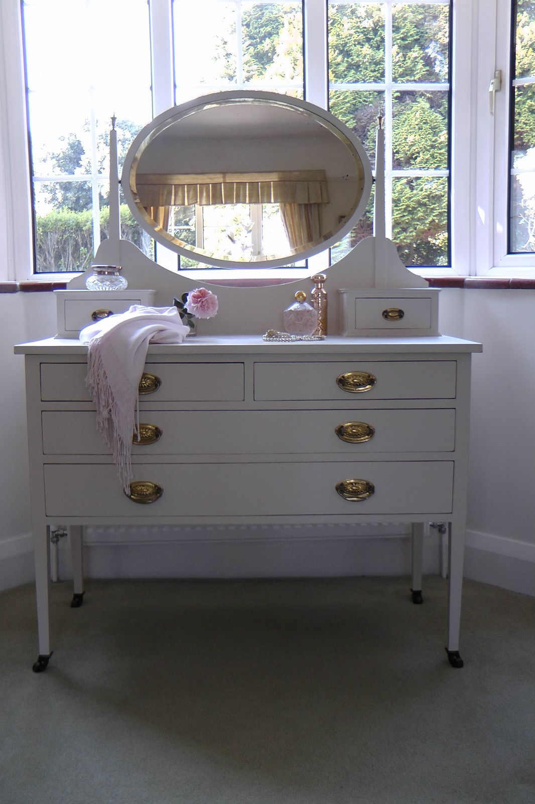 Painted Vintage Dressing Table With Oval Mirrorfarrow