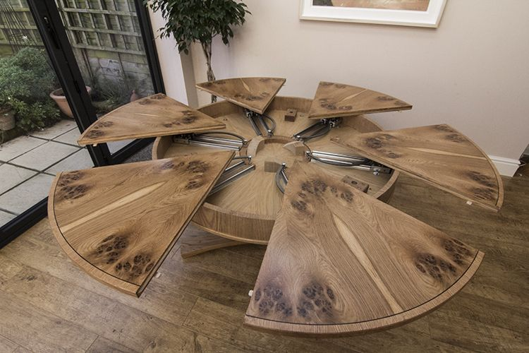 Circular Expanding Dining Table Expanded Top View